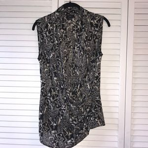Talbots Abstract Wrap Blouse